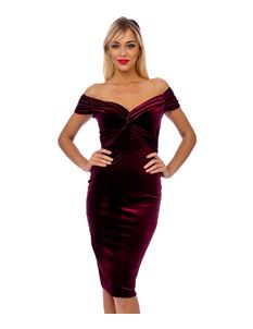 Claret Red Velvet Crossover Pencil Dress