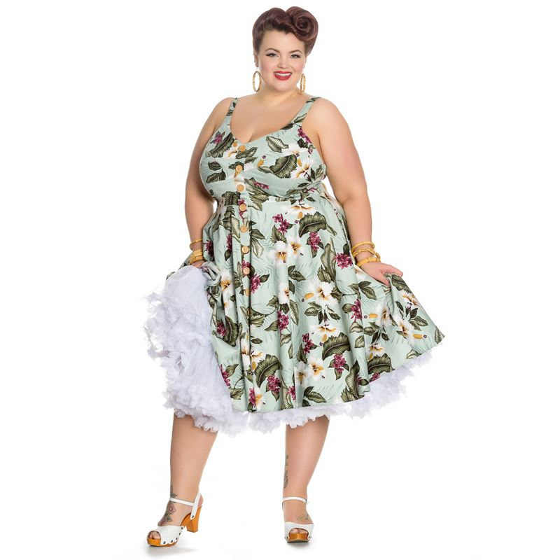 78f91d99ceb0 Hell Bunny Tahiti 50s Tropical Floral Button Dress