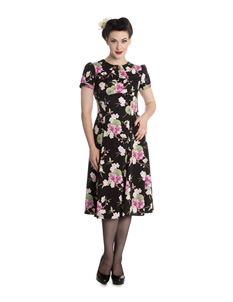 Hell Bunny Freya 40s Tea Dress Black Orchids & Fans
