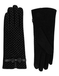 Pia Rossini Zara Black Polka Dot Wool Gloves