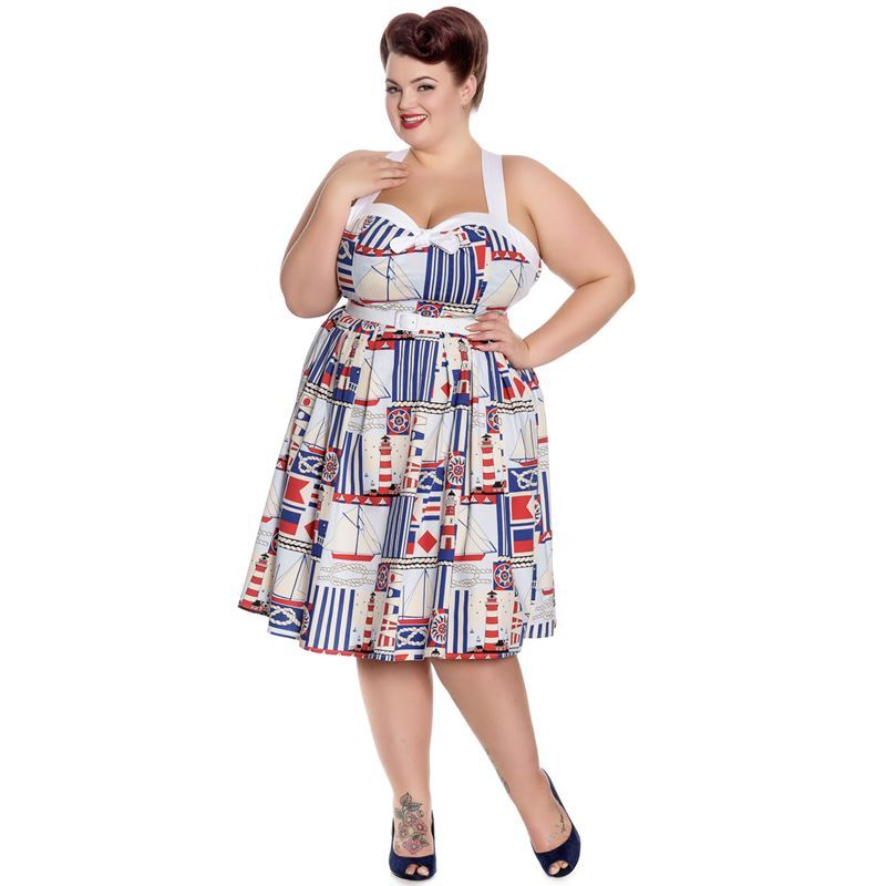 8c8eb5b179 Hell Bunny Lighthouse 50s Style Nautical Summer Dress