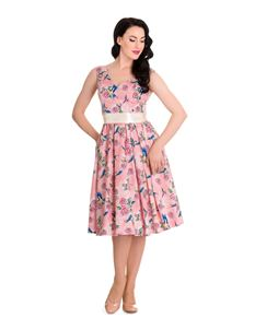 Hell Bunny Pink Lacey Birds Swing Retro Dress