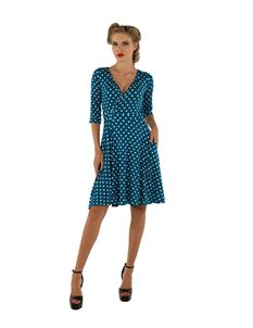 Dolly & Dotty Kate Blue And Green Polka Dot Wrap Dress