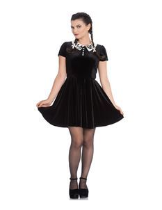 Hell Bunny Full Moon Bat Velvet Mini Alternative Dress