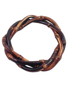 Brown Twisted Bamboo Bangle By Voodoo Betty