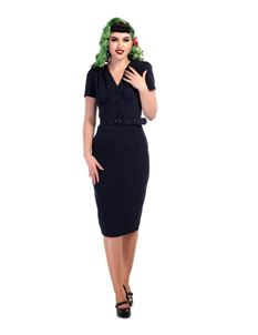Collectif 1940s Style Navy Blue Bethany Pencil Dress