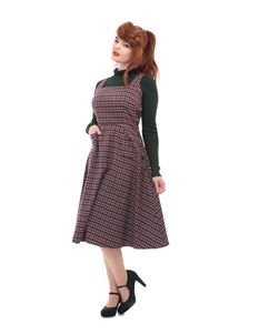 Collectif 1940s Style Red Check Gertrude Pinafore Dress