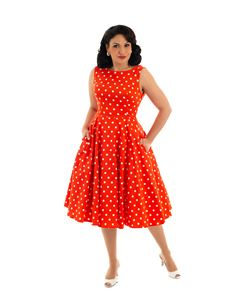 Hearts & Roses Sandy Swing Polka Dot Red 50s Dress