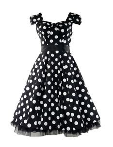 H&R London 50's Big Polka Dot Dress Black