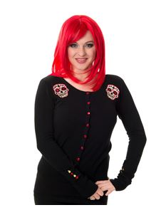 Banned Women's Black Red Skylar Sugar Skull Cardigan