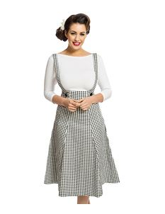 Lindy Bop Pixie Gingham Pinafore Flared Swing Skirt