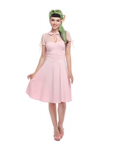 Collectif 50s Style Kitten Light Pink Swing Dress