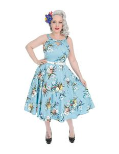 Hearts & Roses Lizzy Light Blue Floral 50s Doll Dress