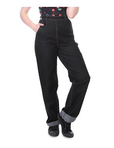 Collectif Siobhan Plain 50s Vintage Style High Waisted Black Jeans