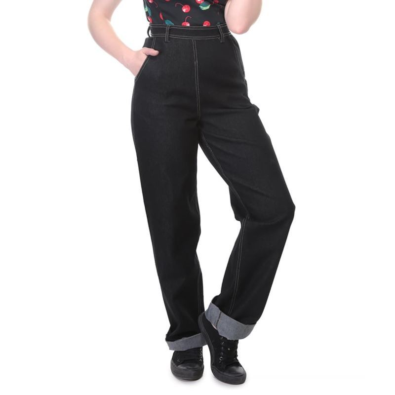 b7fc5e8aabe3 Collectif Siobhan Plain 50s Vintage Style High Waisted Black Jeans