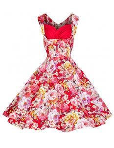Lindy Bop Ophelia Red & White Floral Dress
