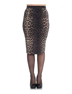 Hell Bunny Panthera 50s Leopard Pencil Wiggle Skirt