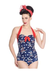 Hell Bunny St Tropez 40s 50s Nautical Print Swimsuit
