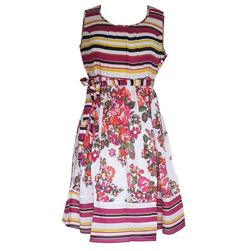 Little Buddha Summer Beach Striped Floral Cotton Dress