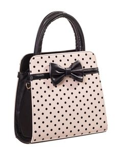 Dancing Days-Banned Carla Black Polka Dot Cream Handbag