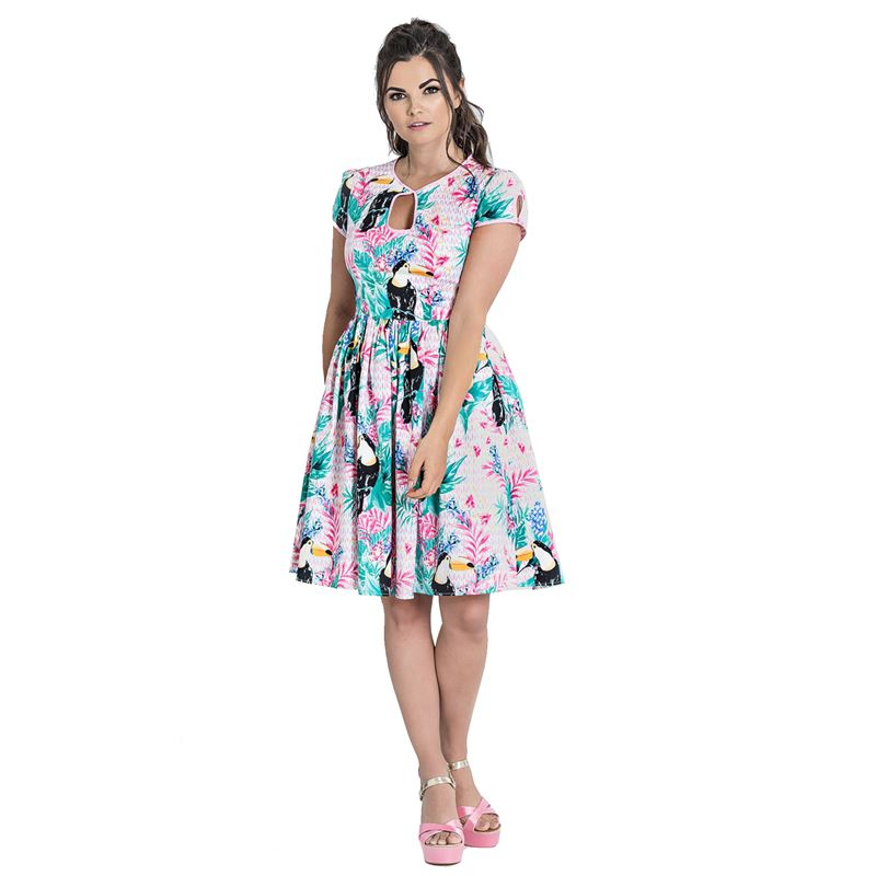 Hell Bunny Toucan Tropical Floral Mid Summer Dress