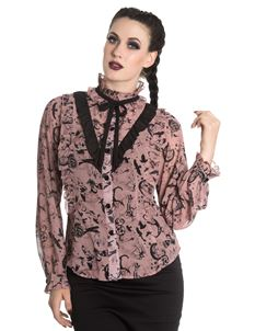 Spin Doctor Sibyl Bat Raven Skull Alternative Blouse