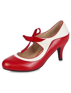 Collectif Jeanie 50s Red White High Heels