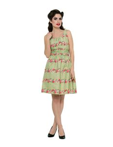 Voodoo Vixen 50s Style Angie Green Floral Cotton Dress