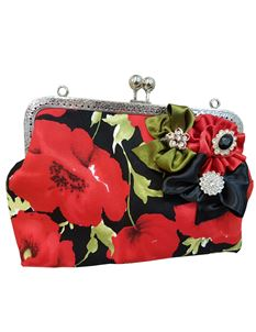 Hand Made Poppy Remembrance Kiss Lock Bag