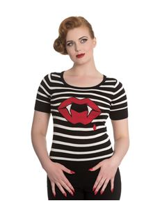 Hell Bunny Sulpicia Red Lips & Fangs Alternative Striped Knit Top