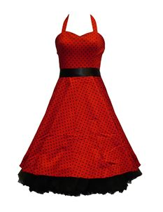 H&R London 50's Small Polka Dot Dress Red