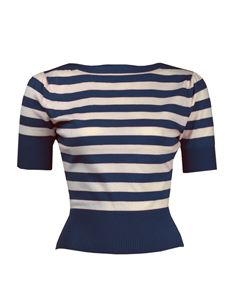 Pretty Retro Navy Striped Boat Neck Jumper