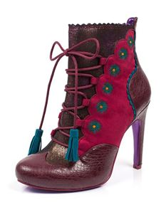 Poetic Licence Folklore Zip Up High Heel Boot Burgundy