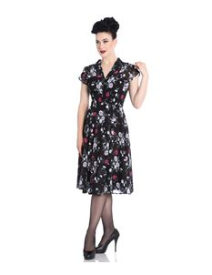 Hell Bunny 40s Belleville Chiffon Floral Black Dress