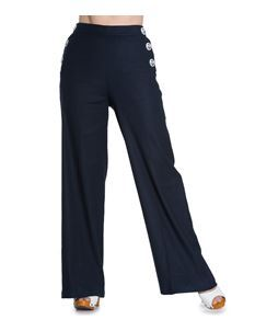 Hell Bunny 40s 50s Nautical Lindy Bop Navy Blue Riviera Trousers