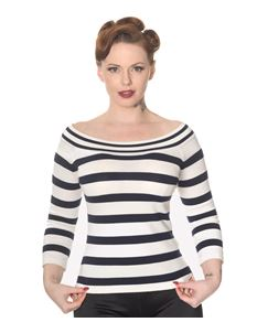Dancing Days 50s Ahoi Nautical Striped Knit Top