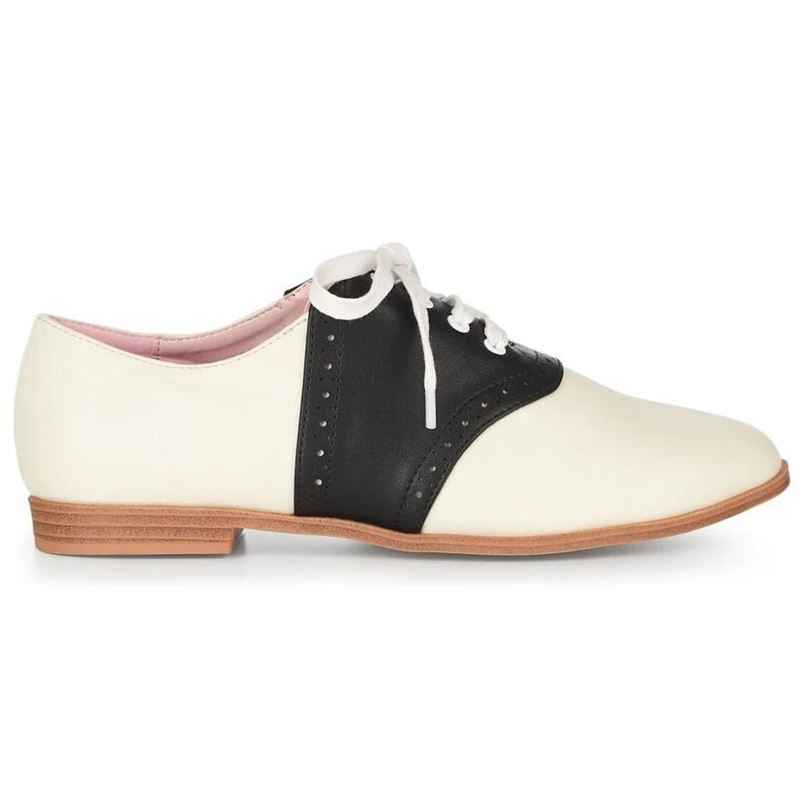 Collectif 50s Ivory Black Elvira Bowling Flats Shoes