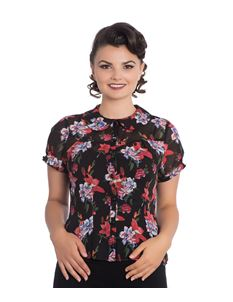 Hell Bunny Rayna Floral Vintage Style Chiffon Blouse