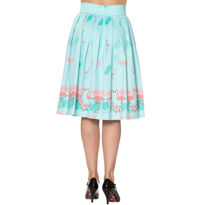 Dancing Days Going My Way Flamingo 50s Pleated Skirt