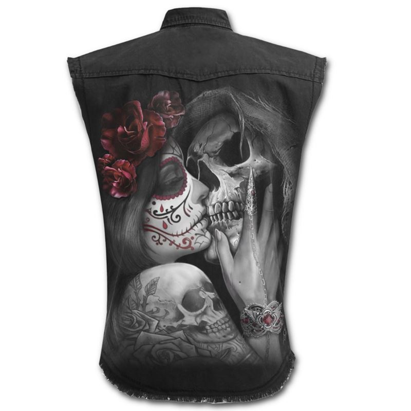 Spiral Direct Mens Dead Kiss Stone Washed Work Shirt