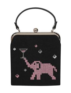 Collectif Tipsy Pink Elephant Cocktail 50s Black Bag