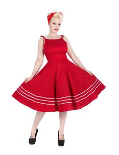 Hearts & Roses Red Black Small Polka Dot Swing Dress