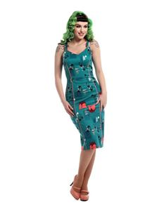 Collectif Samira 50s 60s Atomic Cats Teal Pencil Dress