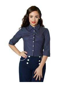Collectif 40s 50s Virginia Navy White Polka Shirt