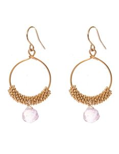 Weekend Doll Crystal Ball Gold Hoop Earrings