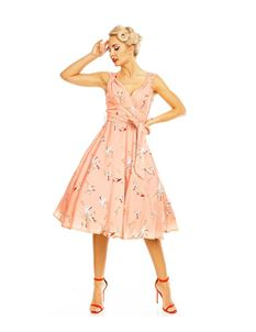 Clarence and Alabama Pink Swallow Swing Dress