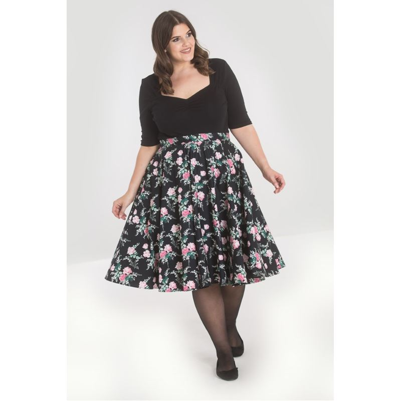 Hell Bunny Lily Rose Floral 50s Circular Skirt