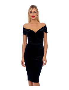 Black Velvet Crossover Pencil Dress