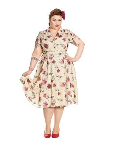 Hell Bunny Leah Cream With Roses Chiffon Overlay Dress
