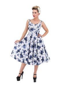 Hearts & Roses Blue Rosaceae 50s Style Floral Dress